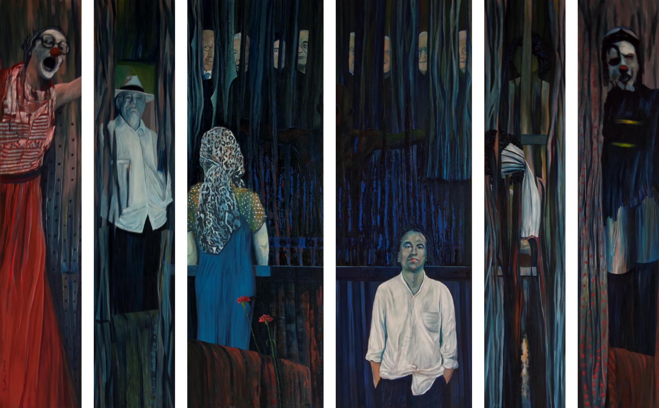 """""""Rückgrat - für Stéphane Hessel und viele andere"""", 2015/16, 200 x 324 cm, Öl auf Leinwand. Das Bild besteht aus 6 Leinwänden. Alle Tafeln sind 200 cm hoch. Von links geseheninwände mit einer Breite von 40 cm, dann in der Mitte 2 Leinwände mit der Breite von 67 cm. Rechts wieder 2 Leinwände mit der Breite von 40 cm.2 haben eine Breite von 67 cm. Die verschiedenen leinwände haben von links nach rechts folgende Bildtitel. Tafel der Empörung I, Tafel der Künste, Tafel der Verfolgten, Tafel der Aufrechten, Tafel der Namenlosen und Tafel der Empörung II."""